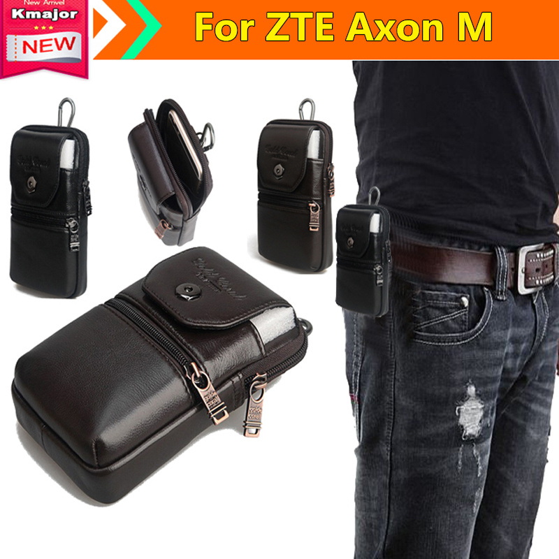 Genuine Leather Carry Belt Clip Pouch Waist Purse <font><b>Case</b></font> Cover for ZTE Axon M 5.2inch <font><b>Phone</b></font> Free Drop Shipping
