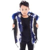5615 новые модные зимние Костюмы мальчиков и девочек меховые пальто большой меховой воротник с капюшоном пальто енотовидная собака меховой п