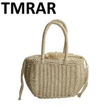 6cf90957a8 2018 New cute small tote rattan knitting handbag summer beach bags shoulder  bag design drawstring bags