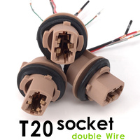 10pcs Lot Socket T20 Double Wire 8AWG 7443 Soft Bulb Holder Adapters Cable Lights Plug 1891