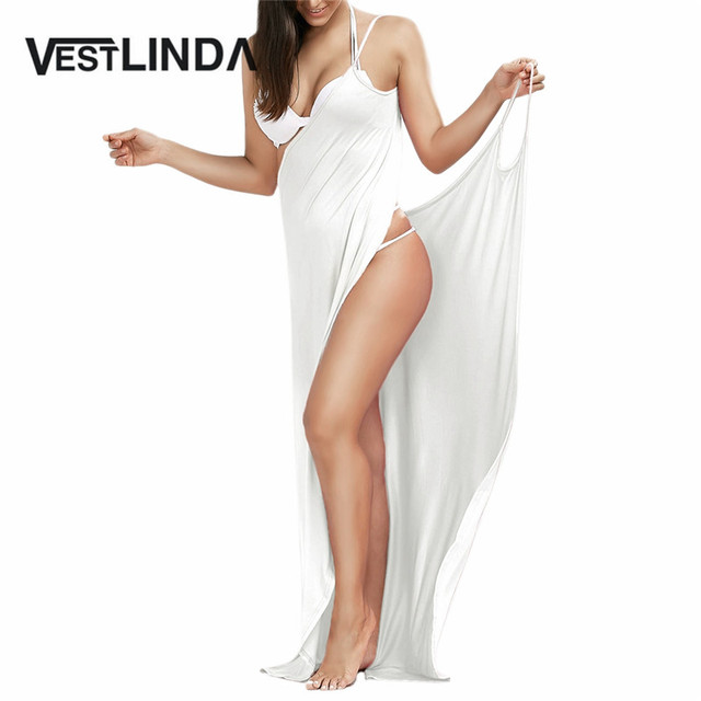 VESTLINDA Sexy Beach Long Split Summer Dress 2017 Backless V Neck Women Cami Dress Casual Maxi Club Party Dresses Robe Vestidos