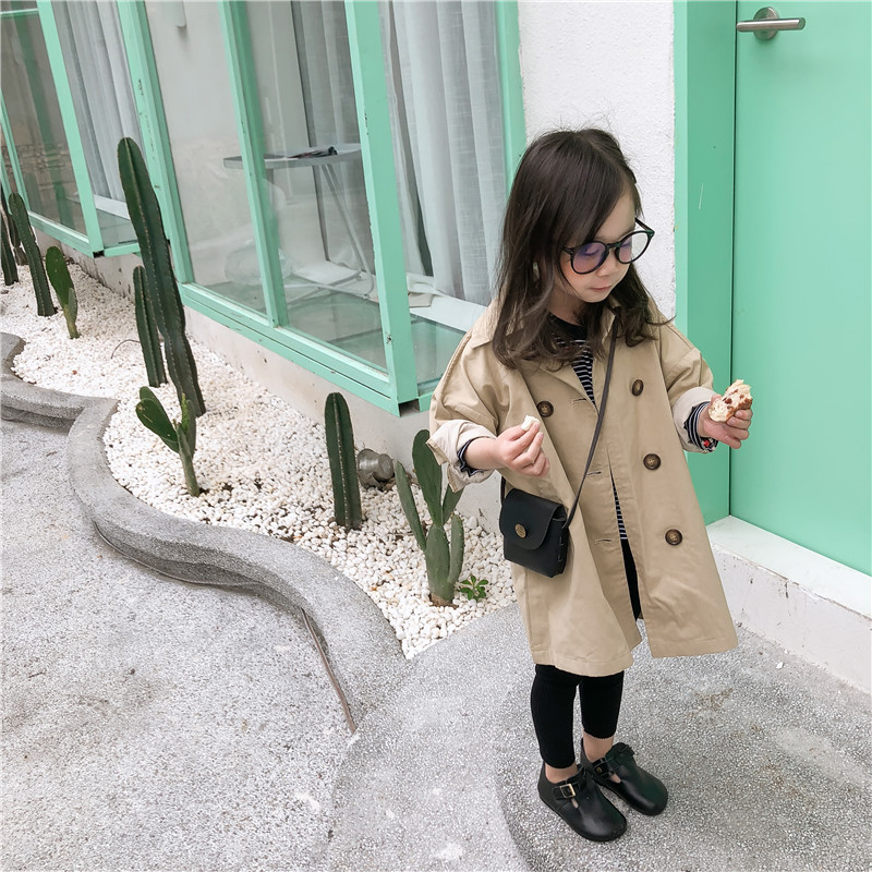 2019 Spring New Arrival Korean Style Cotton Pure Color Long Style All-match Windbreak Coat For Fashion Baby Girls And Boys