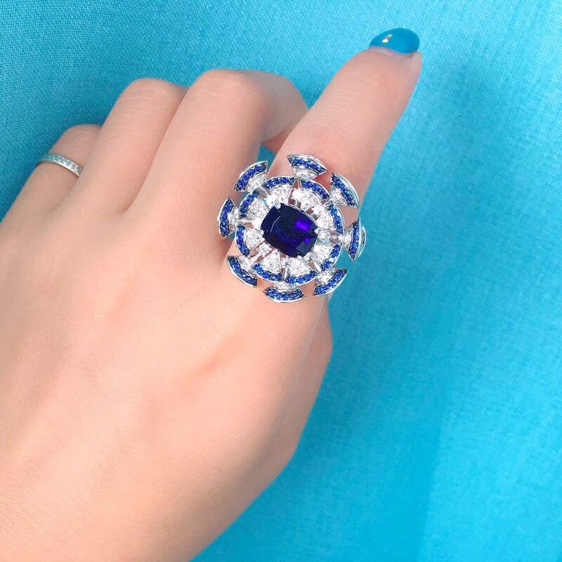 925 zilveren kubieke zirkoon blauwe kleur bloem ringen Prinses banket sieraden Vinger ringen voor vrouwen-in Ringen van Sieraden & accessoires op  Groep 1