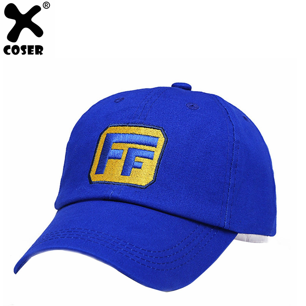 XCOSER Wreck-It Ralph 2 Fix-It Felix baseball Hat EmbroideredH Cap Cosplay Cotton Blue Hat Costume Accessory Christmas Gift