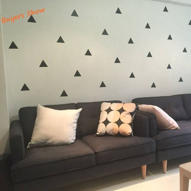Set Of 35pcs,Gold Triangle Vinyl Wall Decals, Gold Geometric Patterns Modern  Kids Wall Art Decor Wall Stickers   Free Shipping
