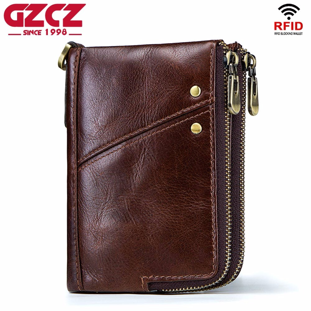 GZCZ Genuine Leather Men Wallet High Quality Luxury Brand Double Zipper Fashion Male Walet Coin Pocket Small Purse Portomonee