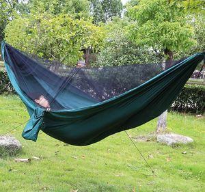 Image 4 - Легко настроить москитная сетка гамак двойной хамак 290*140 см с ветровой веревкой гвозди хамак хамака портативный для кемпинга путешествия двор