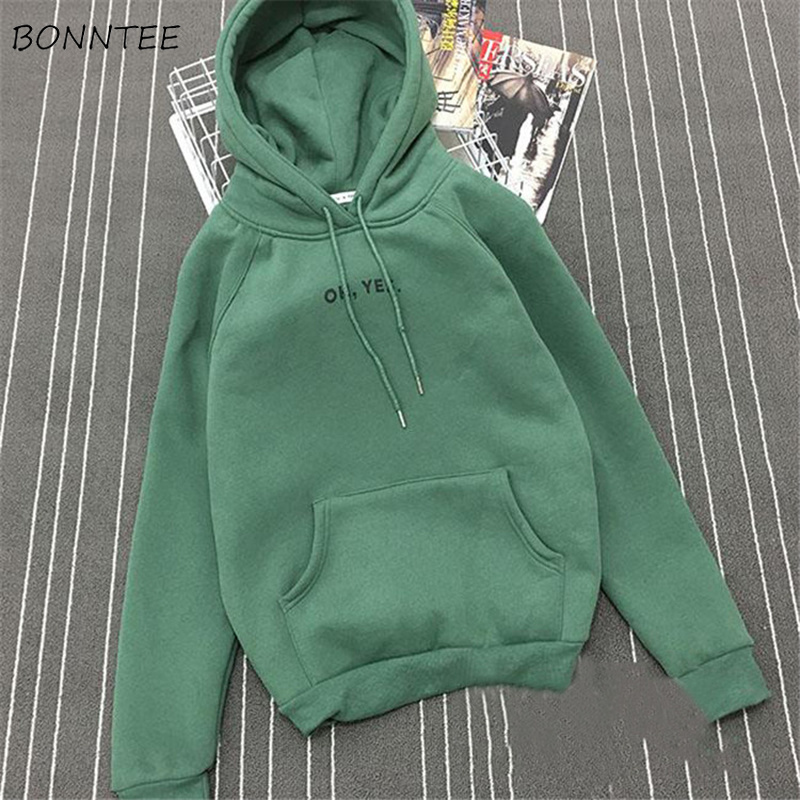 Hoodies Women Trendy Plus Velvet Warm Casual All-match Daily Kawaii Korean Long Sleeve Pocket Womens Sweatshirt Loose Student