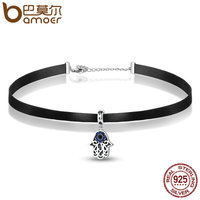 BAMOER New Fashion 925 Sterling Silver Blue Evil Eye Pendant Choker Necklace Women Necklaces Pendants Jewelry