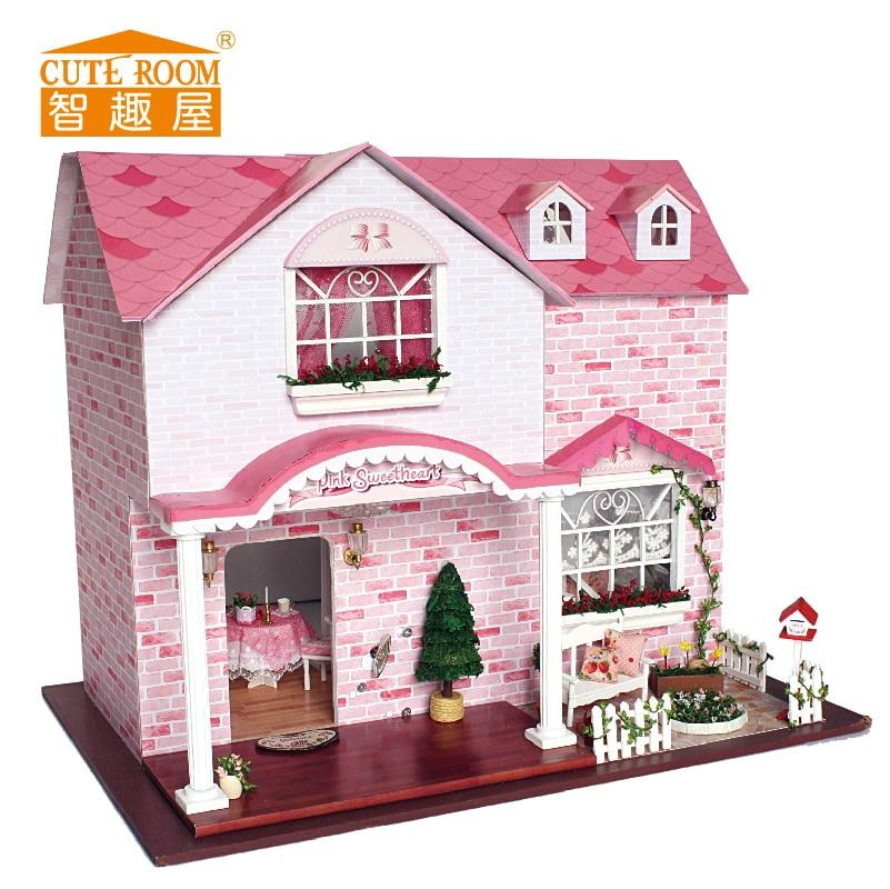Girls Kids Childrens Wooden Nursery Bedroom Furniture Toy: CUTE ROOM Handmade Doll House Furniture Diy Big Doll House