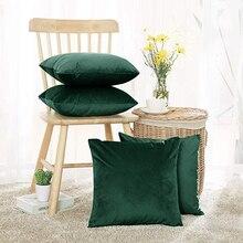 Funda de cojín de terciopelo suave, cojines decorativos, funda de almohada, colores suaves y sólidos, decoración de lujo para el hogar, sala de estar, sofá, asiento, café
