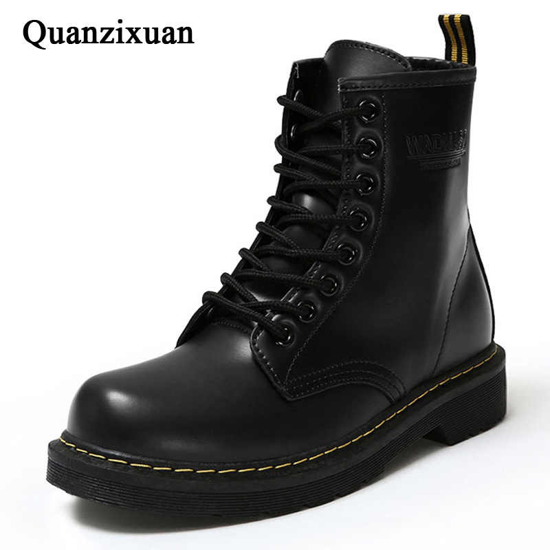 Winter Ankle Boots Pu Leather Women Boots For Martin Boots Work Shoes Black Round Toe Lace-Up Women Shoes Black Female Boots