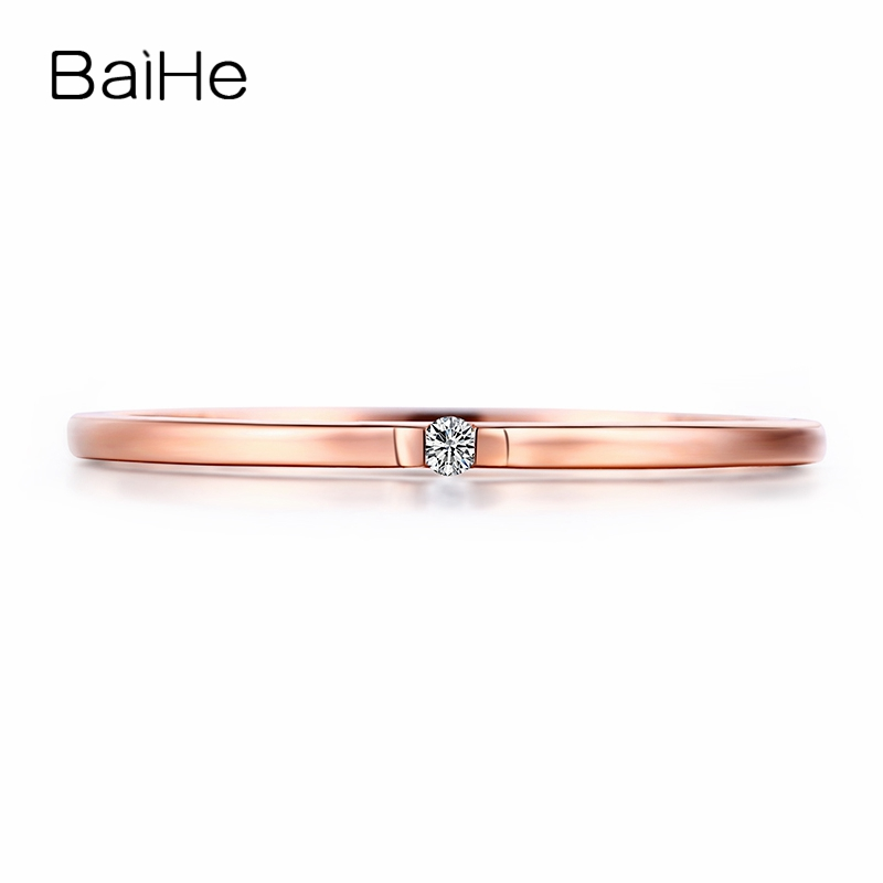 BAIHE Solid 14k Rose Gold(AU585) SI/H Round cut 100% Diamonds Engagement Trendy Fine Jewely Elegant unirque Semi Mount Gift Ring
