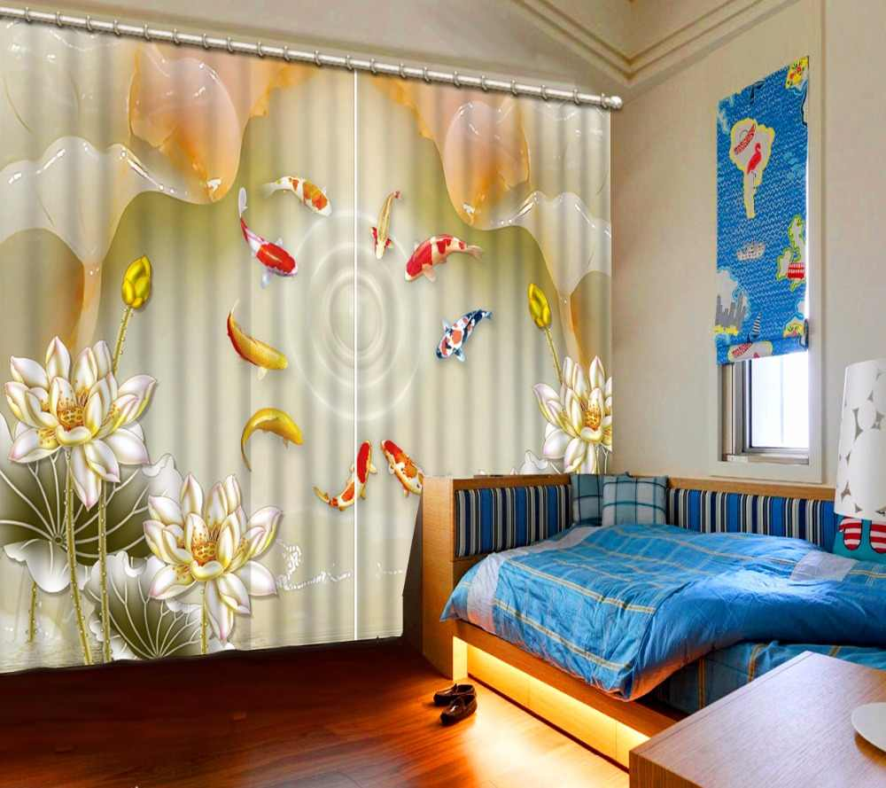 Modern Custom Curtains For Living Room Bedroom Photo fish 3D Curtain Fabric Curtain 3D lifelike fish marble Blackout Curtains