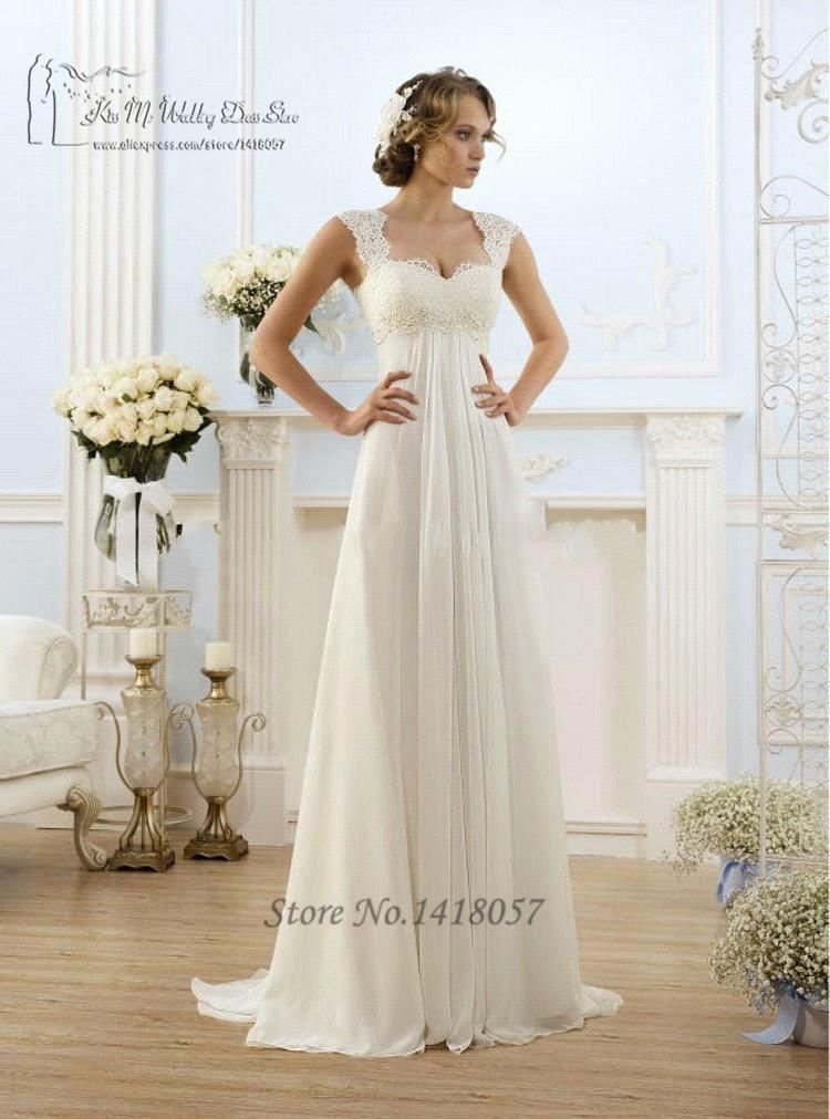 Simple Chiffon Wedding Dress Lace_Wedding Dresses_dressesss