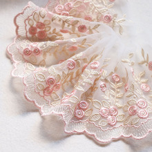 2Yards 10cm Width Handmade Gold Thread Flower Embroidery Lace Trim Tulle Wedding Hair Bow Clothes DIY Craft Fabric Sewing