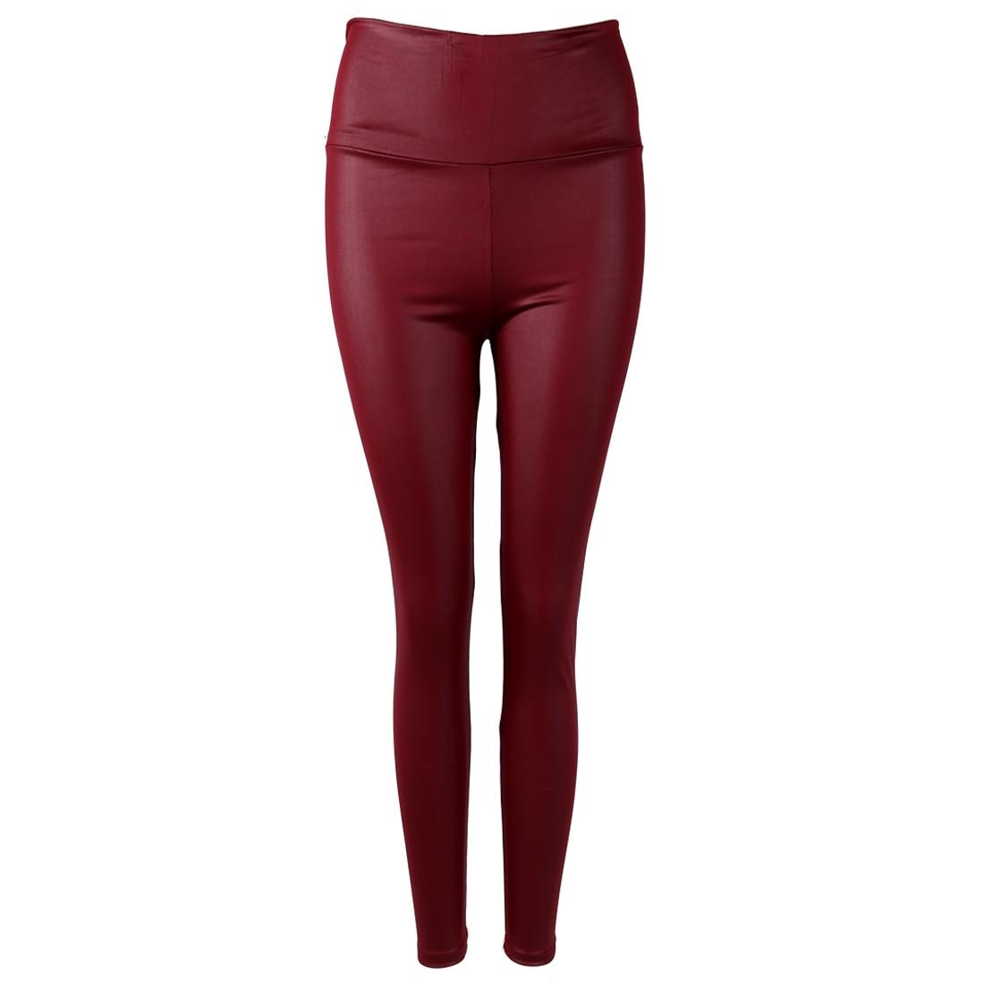 Authentic New Shiny Metallic Black Zip up Wet Stretch PU Leggings Pants S M