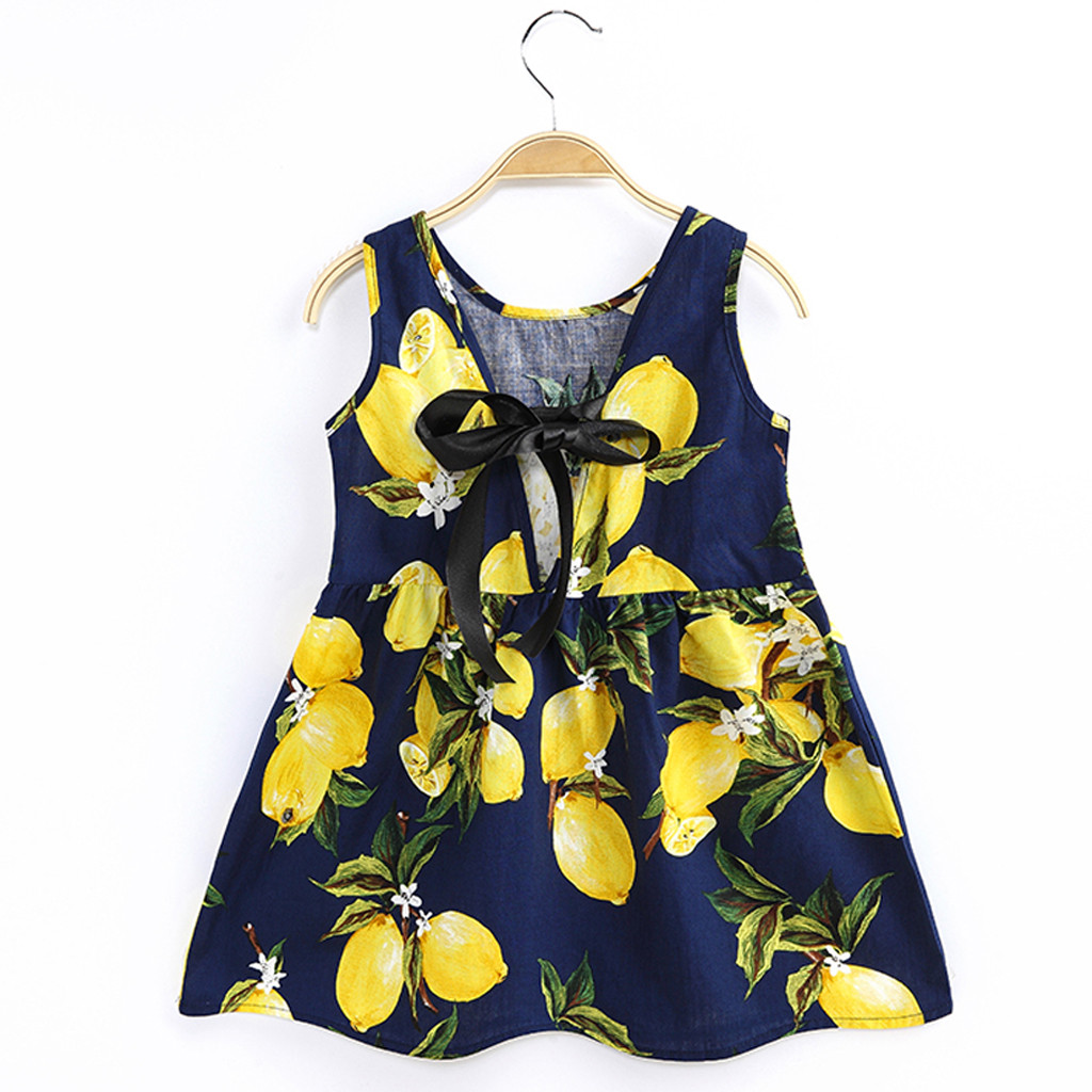 Toddler Baby Girls Sleeveless Lemon Fruit Dress Navy White Lacing O Neck Mini Dress Princess Dress Clothes  HOOLER