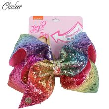 8'' Large Sequin Hair Bow Hairclips For Girl Handmade Rainbow Dance Party Kids Boutique Hair Accessories 20 Colors Available()