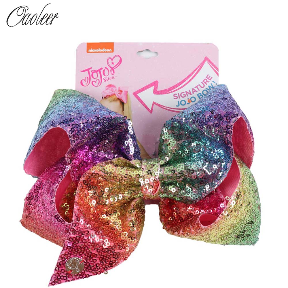 8'' Large Sequin JOJO BOWS Hair Bow For Girl Handmade Rainbow Dance Party Kids Boutique Hair Accessories 20 Colors Available