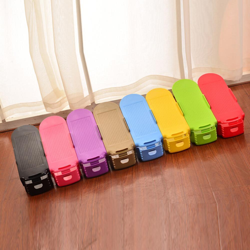 10Pcs/lot Plastic Creative Shoe Storage Shelf Rack Shoe Hanger Care Organizer Space-saving Double Layer Shoe Racks Storage Box