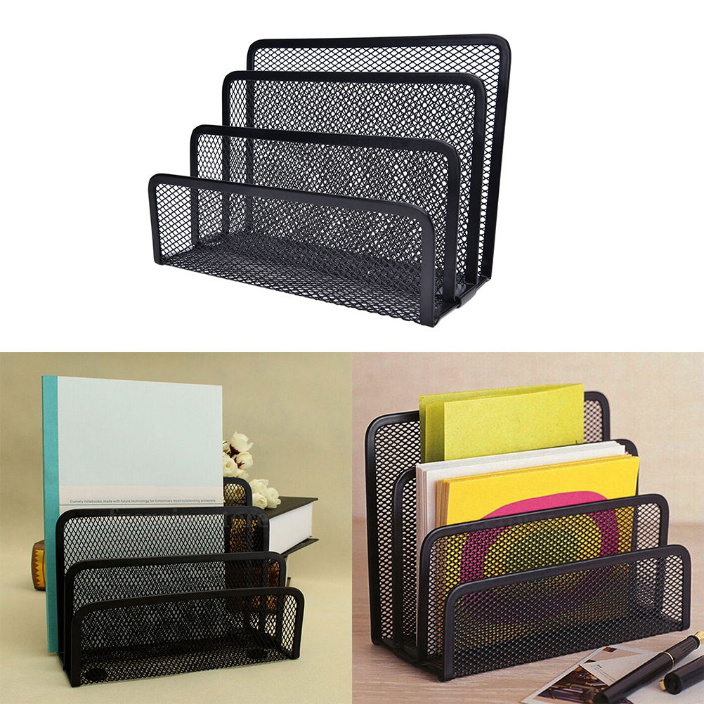 Black Metal Mesh Desk Organizer Desktop Letter Sorter Mail Tray File Organiser Office Home Bookends Book Holder Business