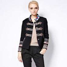 Punk Jackets 2016 Autumn-Winter New Fashion Coat Full Sleeve Geometric Flower Embroidery Turtleneck Black New Jacket Women