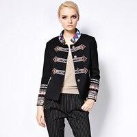 Punk Jackets Gothic Autumn Winter New Fashion Coat Full Sleeve Geometric Flower Embroidery Turtleneck Black New Jacket Women