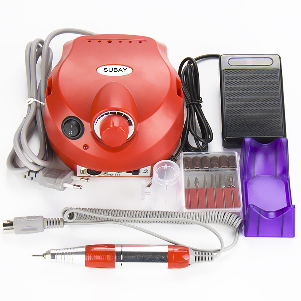 Professional Red Colors Electric Nail art Drill File Manicure Kit 220V Eu Plug Nail Tools for Nail Manicure Drill 30000RPM excellet value 1 pc blue medium 3 32 white ceramic nail drill bit manicure professional electric manicure cutter nail tools