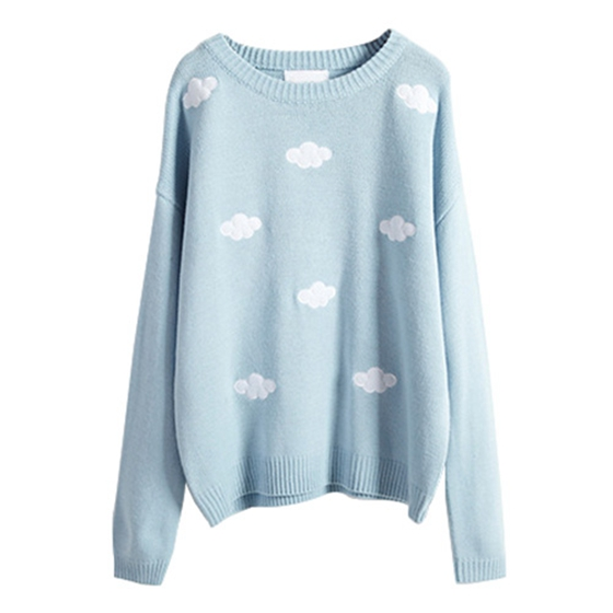 Women Sweaters And Pullovers New Winter Style Coats Cute 3D Clouds Pullover Oversized Sweater