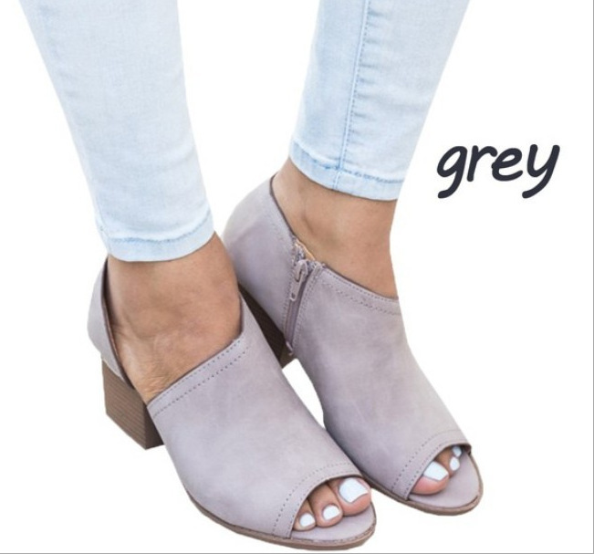 Clásico negro gris púrpura marrón Otoño Nueva Moda Martin Khaki Cremallera Zapatos Ghn789 Pescado Mujer Mujeres Botas 6ZFTXq
