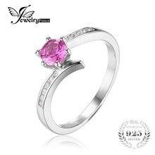 Jewelrypalace clásico 0.7ct creado zafiro anillo de plata 925 nueva joyería de moda para las mujeres y niñas de regalo de navidad