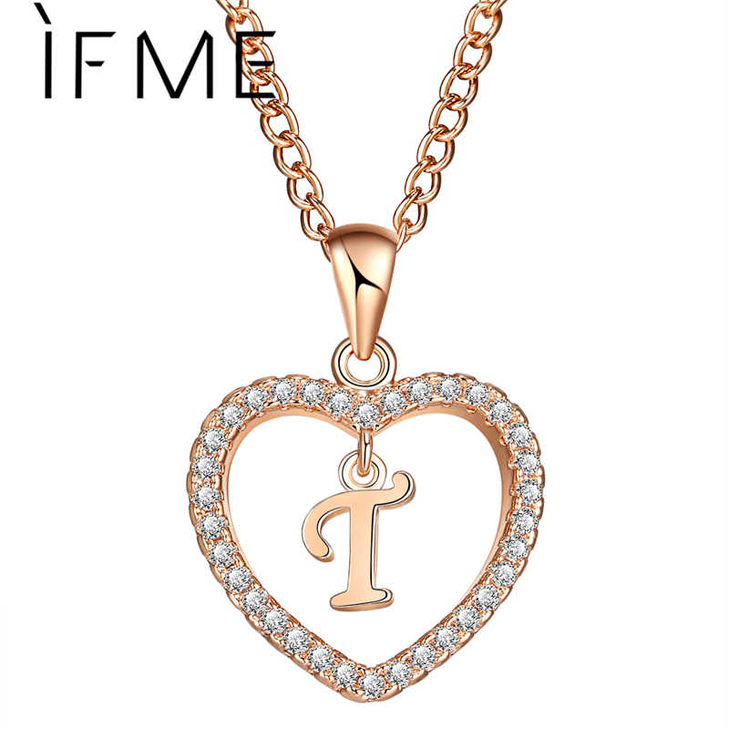 إذا لي كابيتال إلكتروني الأولي T القلب كريستال تشيكوسلوفاكيا النساء بيان سحر القلائد و المعلقات الذهب الفضة اللون مجوهرات الولادة هدية