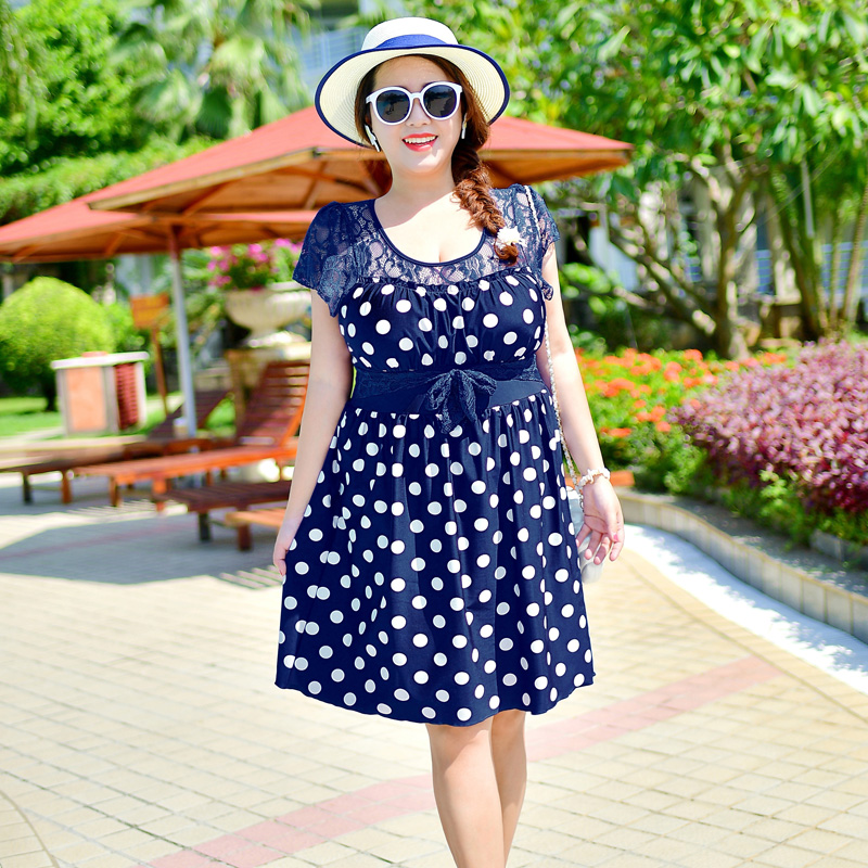a645f78781 Detail Feedback Questions about 2018 Summer 3XL 7XL Womens Plus Size One  Piece Swimming Suit Swimdress Sexy Black Dot Bathing Suits Short Sleeve  Lace ...