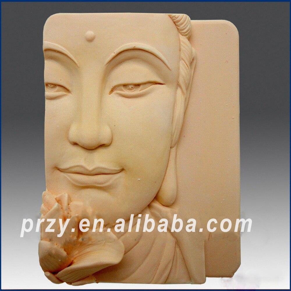 2D Silicone Soap Mold - Buddha Closeup w/Lotus Good Quailty Handmade Soap Molds square shape buddha face clay aroma stone molds