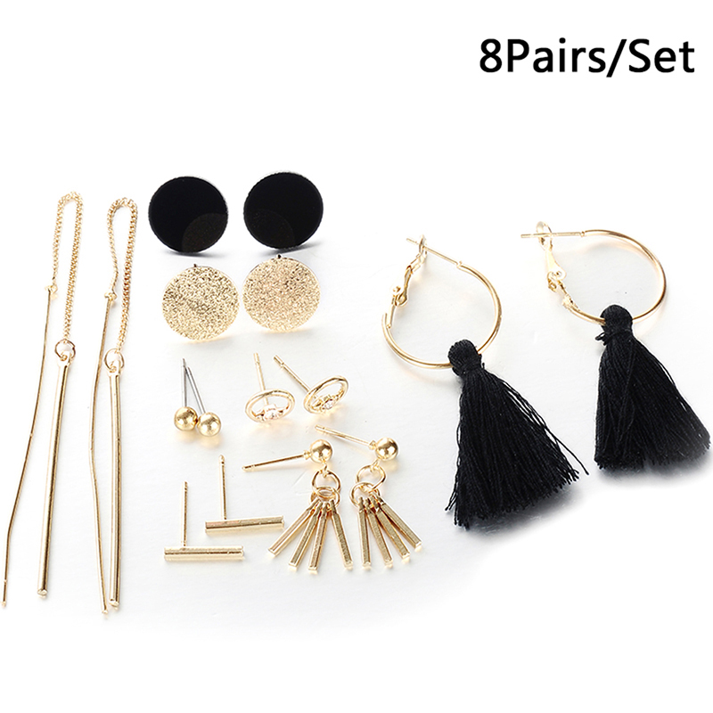 New8 Pairs Fashion Tassel Round Stud Earrings Set For Women Mixed Black Acrylic Statement Korean Long Earrings Sets image