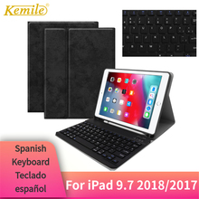 For iPad 2018 9.7 Case Bluetooth Keyboard W Pencil holder Leather Cover 2017 Pro Air 1/2 Spanish Teclado