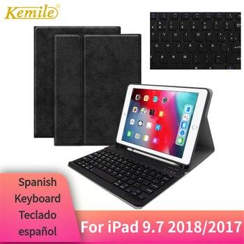 kemile for ipad pro 9 7 wireless bluetooth keyboard folios case cover for apple ipad air 2 keypad for ipad 2018 9 7 inch For iPad 2018 9.7 Case Bluetooth Keyboard W Pencil holder Leather Cover For iPad 2018 2017 Pro 9.7 Air 1/2 Case Spanish Teclado