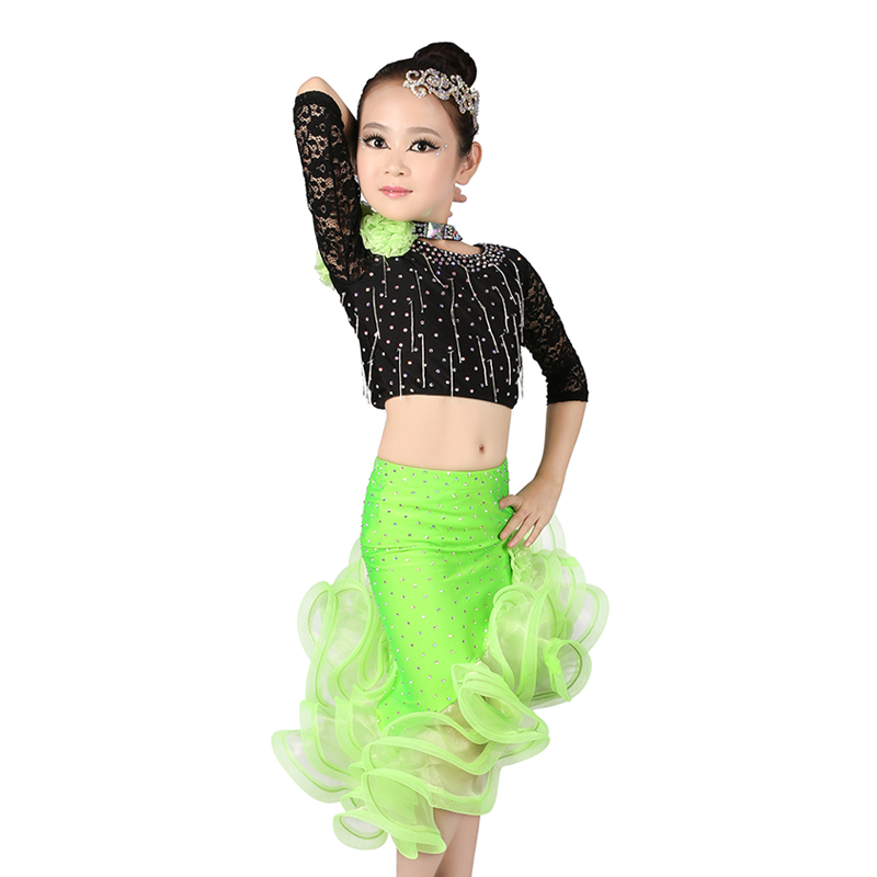 Sexy Lace Half Sleeve Rhinestone Latin Dance Dress Girls Children High Waist Asymmetrical Skirt Set Dance