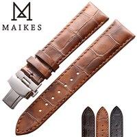 MAIKES Watch Strap Genuine Leather Wrist Watch Bracelet Stainless Steel Butterfly Buckle Clasp 18mm 19mm 20mm