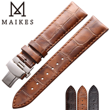 MAIKES Watch Strap Genuine Leather Wrist Watch Bracelet Stainless Steel Butterfly Buckle Clasp 18mm 19mm 20mm 22mm Watch Bands stainless steel watch band 26mm for garmin fenix 3 hr butterfly clasp strap wrist loop belt bracelet silver spring bar