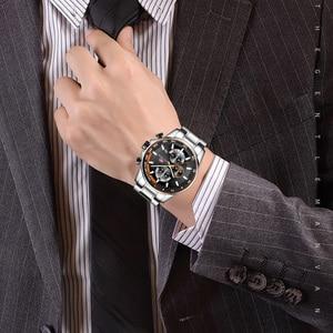 Image 4 - MINI FOCUS Mens Business Dress Watches Stainless Steel Luxury Waterproof Chronograph Quartz Wrist Watch Man Silver 0218G.03