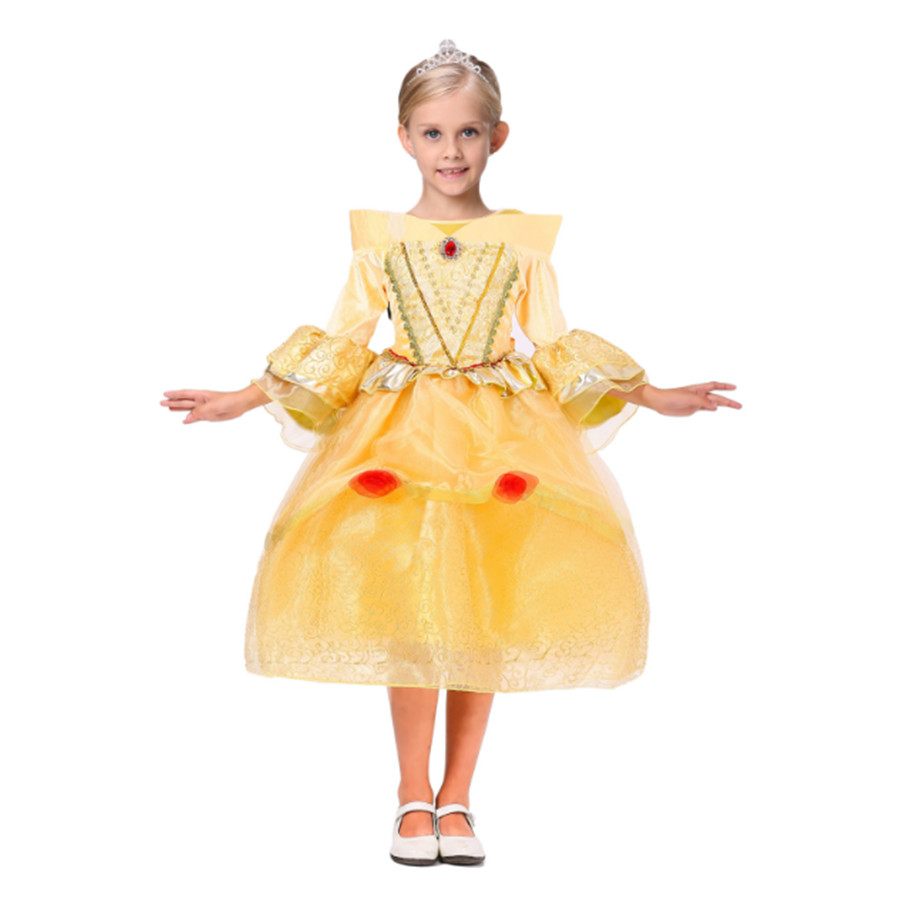 Yellow Belle Princess Dress 4-10T Girls Dress Baby Girls Party Dress Halloween Luxurious Palace Cosplay Costumes Pompon D devil may cry 4 dante cosplay wig halloween party cosplay wigs free shipping
