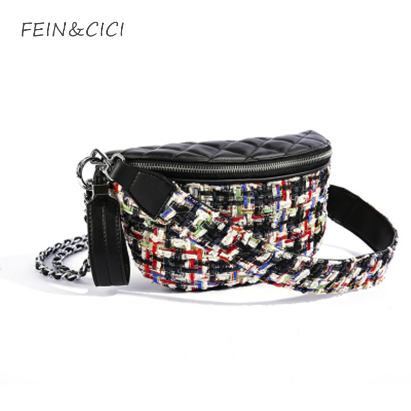Waist bag women Fanny Packs tweed chains belt bag brand Waist Pocket knitted handbag lady check plaid bags 2018 new high quality high waist pocket patched dot skirt