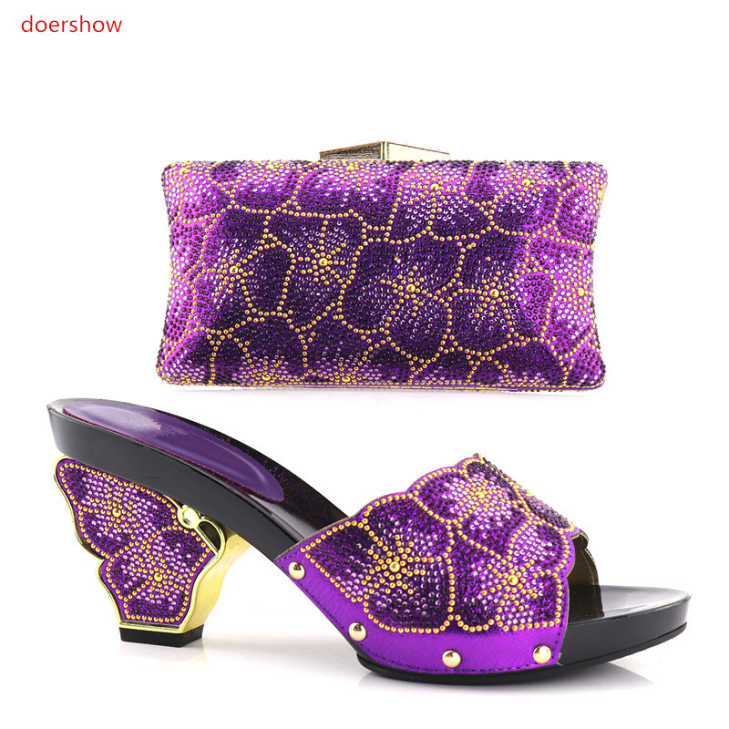 doershow Italian Shoes With Matching Bag High Quality Italy Shoe And Bag Set For Wedding And Party purple,Free Shipping!HV1-59 hot glitter italy matching shoe and bag set with shinning stones with free shipping for party in sl08 size 39 43 red