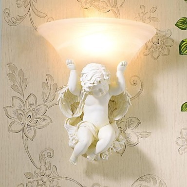 Resin Frosted Glass,Cupid Angel Wall Light 1 Light Handpainted Poresin,Bulb Included,Wall sconces