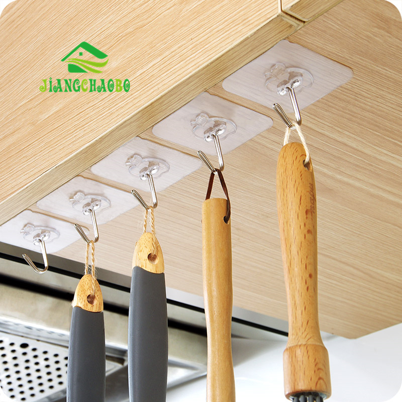 5 Pcs/Lot Transparent And Strong Seamless Hooks Kitchen Paste Hooks Bathroom Wall Hanging Hooks