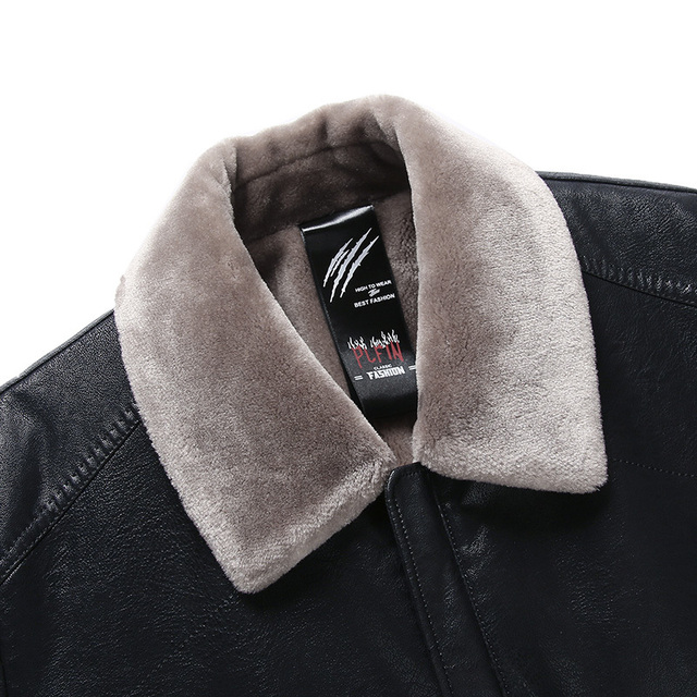 2018 nouveau hiver hommes en cuir daim veste de mode marque qualité polaire doublé moto Faux cuir manteaux vêtement dextérieur pour homme noir