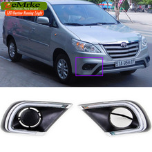eeMrke LED Daytime Running Lights For toyota INNOVA 2013 2014 2015 White DRL Light Fog Lamp Cover Kits Yellow Turn Signal
