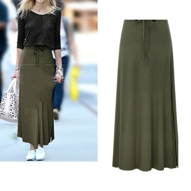 Womens High Waist Pleated A Line Long Skirt Front Slit Belted Maxi Long Skirt Autumn Winter Vintage Skirts New